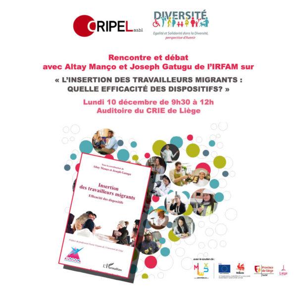 Rencontre et débat : L'insertion des travailleurs migrants, quelle efficacité des dispositifs?- 10 décembre 2018