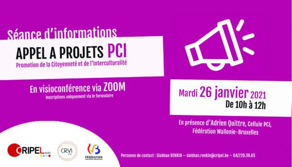 Séance d'infos - Répondre à l'appel à projets PCI (via ZOOM) - Le 26 janvier (de 10h à 12h)
