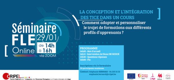 Séminaire FLE : La conception et l'intégration des TICE dans un cours (via ZOOM) - Le 29 janvier (de 14h à 16h)