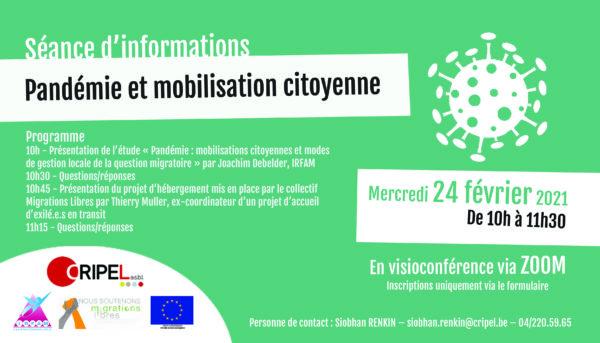"""Séance d'informations """"Pandémie et mobilisation citoyenne"""" - le 24 février (de 10h à 11h30)"""