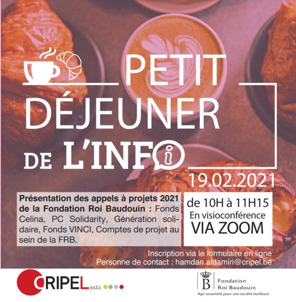 Petit déjeuner de l'info - Présentation des appels à projets 2021 de la Fondation Roi Baudouin
