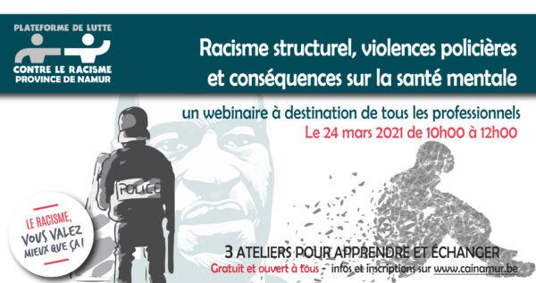 Racisme structurel, violences policières et conséquences sur la santé mentale (en ligne) - le 24 mars (10h-12h)