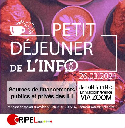"""Petit déjeuner de l'info """"Sources de financements publics et privés des ILI"""" (en ligne) - le 26 mars (10h-11h30)"""