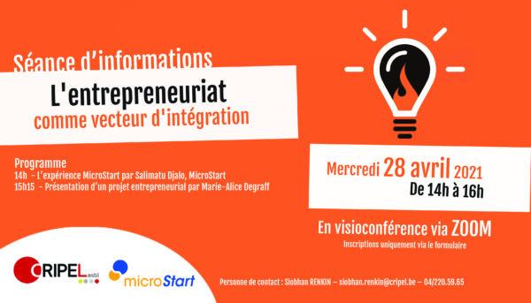 Séance d'infos : L'entrepreneuriat comme vecteur d'intégration - le 28 avril (14h-16h)