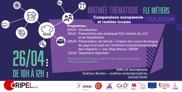FLE-Métiers: Comparaison européenne et réalités locale (en ligne) - le 26 avril (10h-12h)